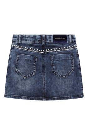 Детская джинсовая юбка MONNALISA синего цвета, арт. 794701A2 | Фото 2