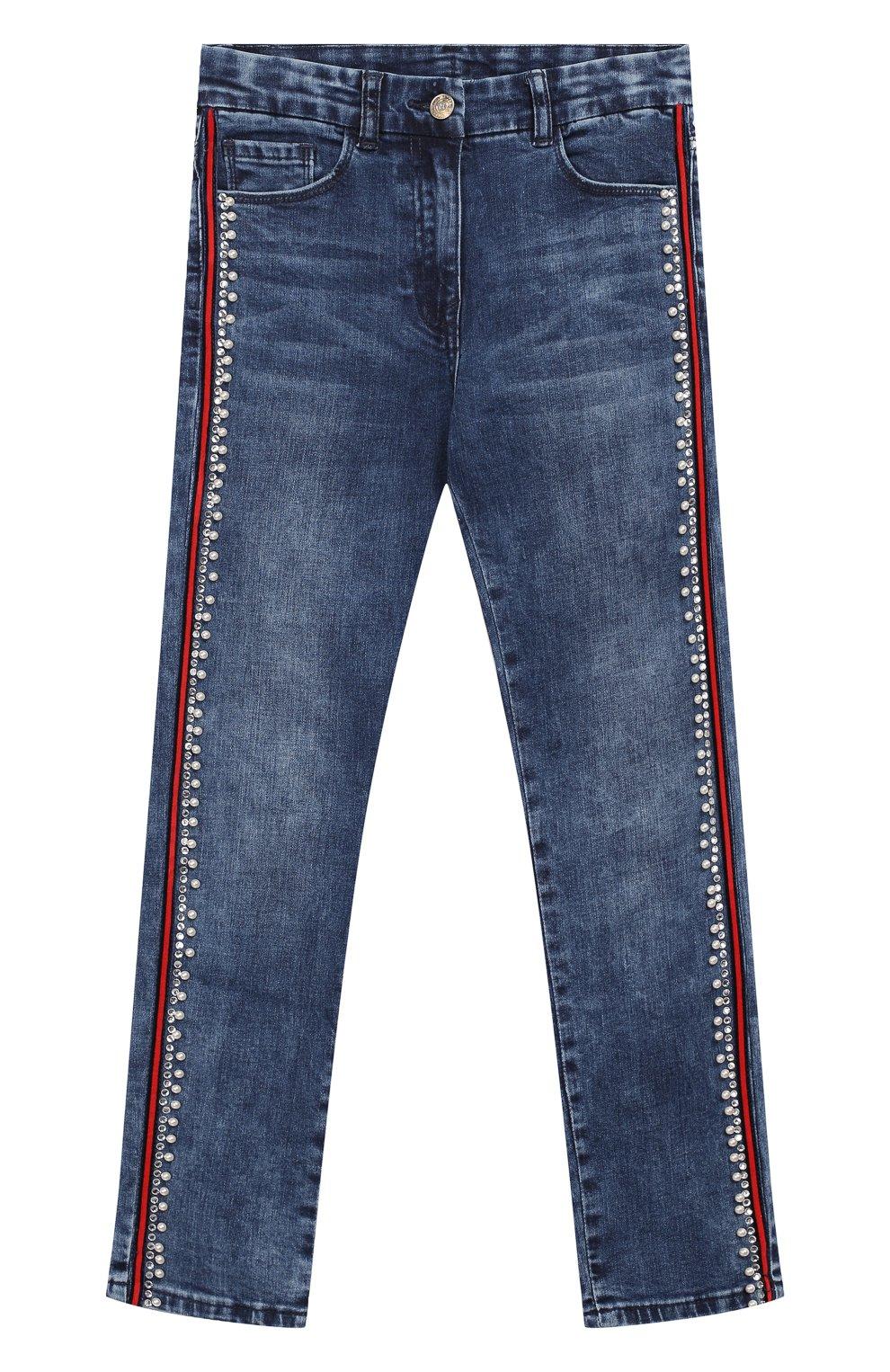 Детские джинсы с лампасами MONNALISA синего цвета, арт. 794400A2 | Фото 1