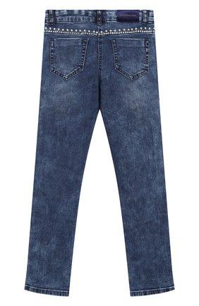 Детские джинсы с лампасами MONNALISA синего цвета, арт. 794400A2 | Фото 2