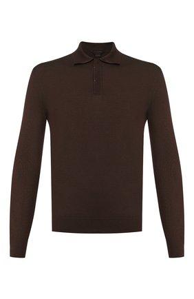 Мужское шерстяное поло ZEGNA COUTURE коричневого цвета, арт. CTM01/132 | Фото 1