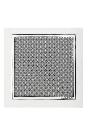 Мужской шелковый платок DOLCE & GABBANA черно-белого цвета, арт. GR412E/G0T01 | Фото 3
