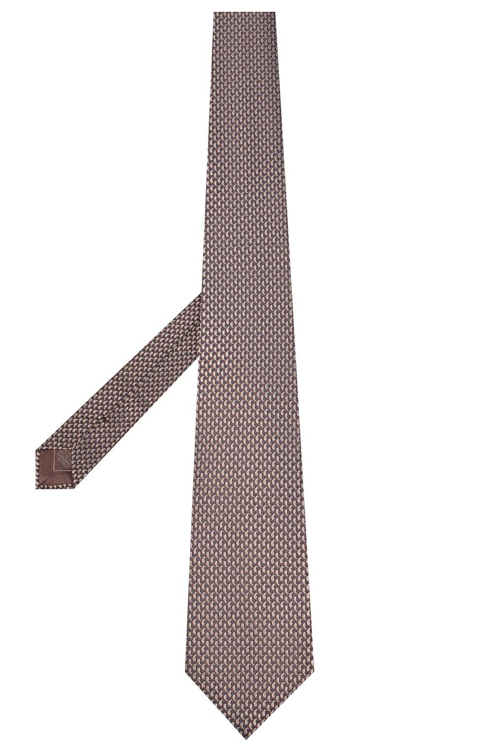 Мужской шелковый галстук BRIONI коричневого цвета, арт. 062I00/08452 | Фото 2