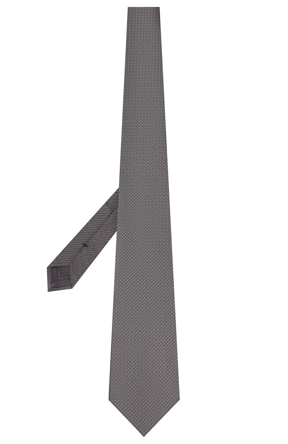 Мужской шелковый галстук BRIONI темно-серого цвета, арт. 062I00/08447 | Фото 2