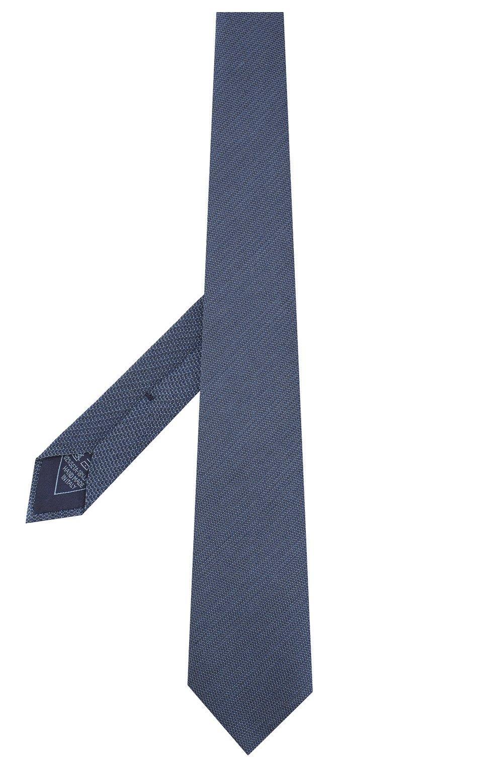 Мужской галстук из смеси шелка и шерсти BRIONI синего цвета, арт. 062I00/08438   Фото 2