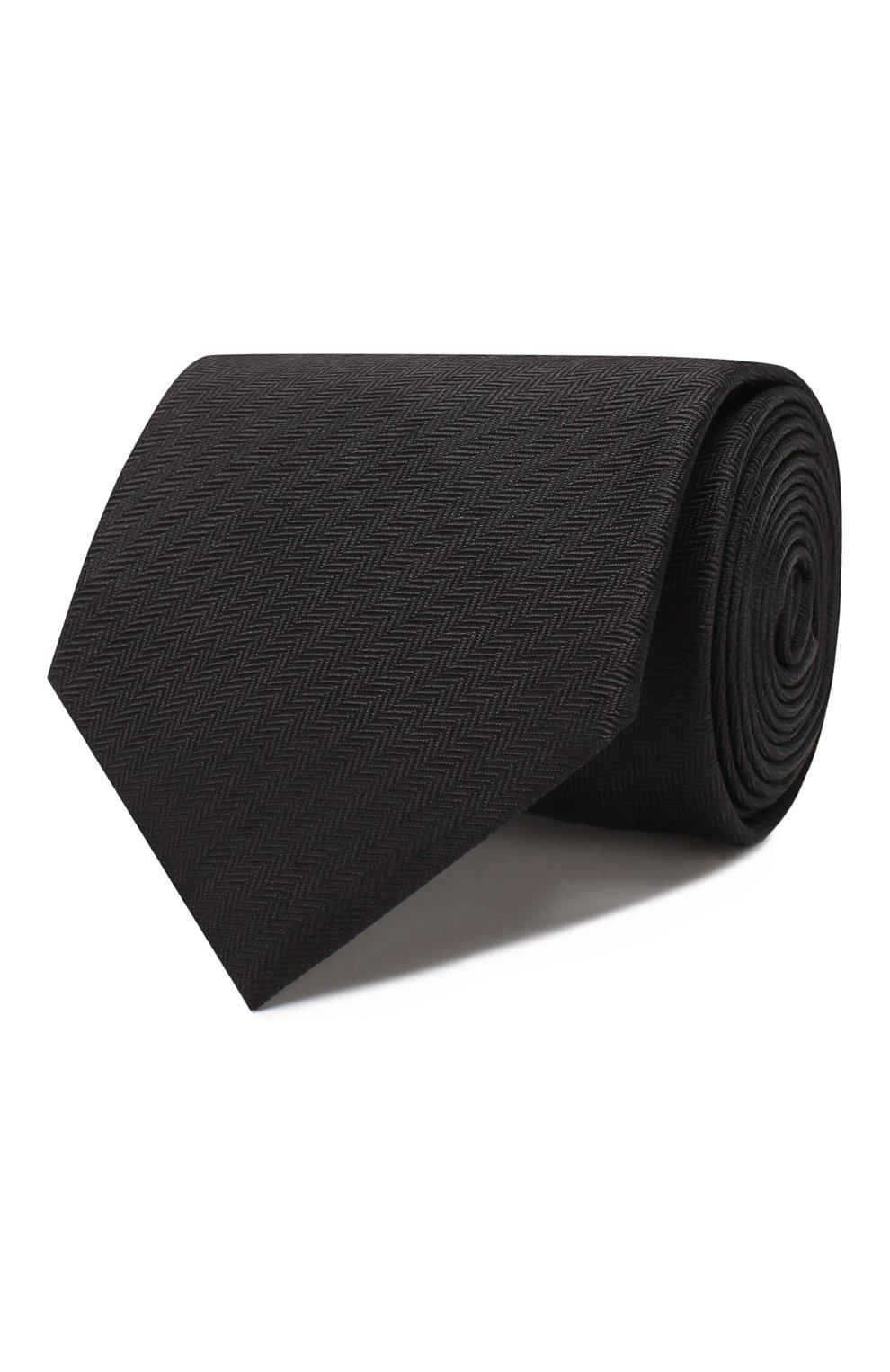 Мужской шелковый галстук BRIONI черного цвета, арт. 062I00/08435 | Фото 1