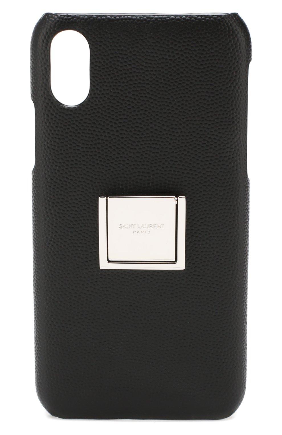 Мужской кожаный чехол для iphone x/xs SAINT LAURENT черного цвета, арт. 585435/BTY0N | Фото 1