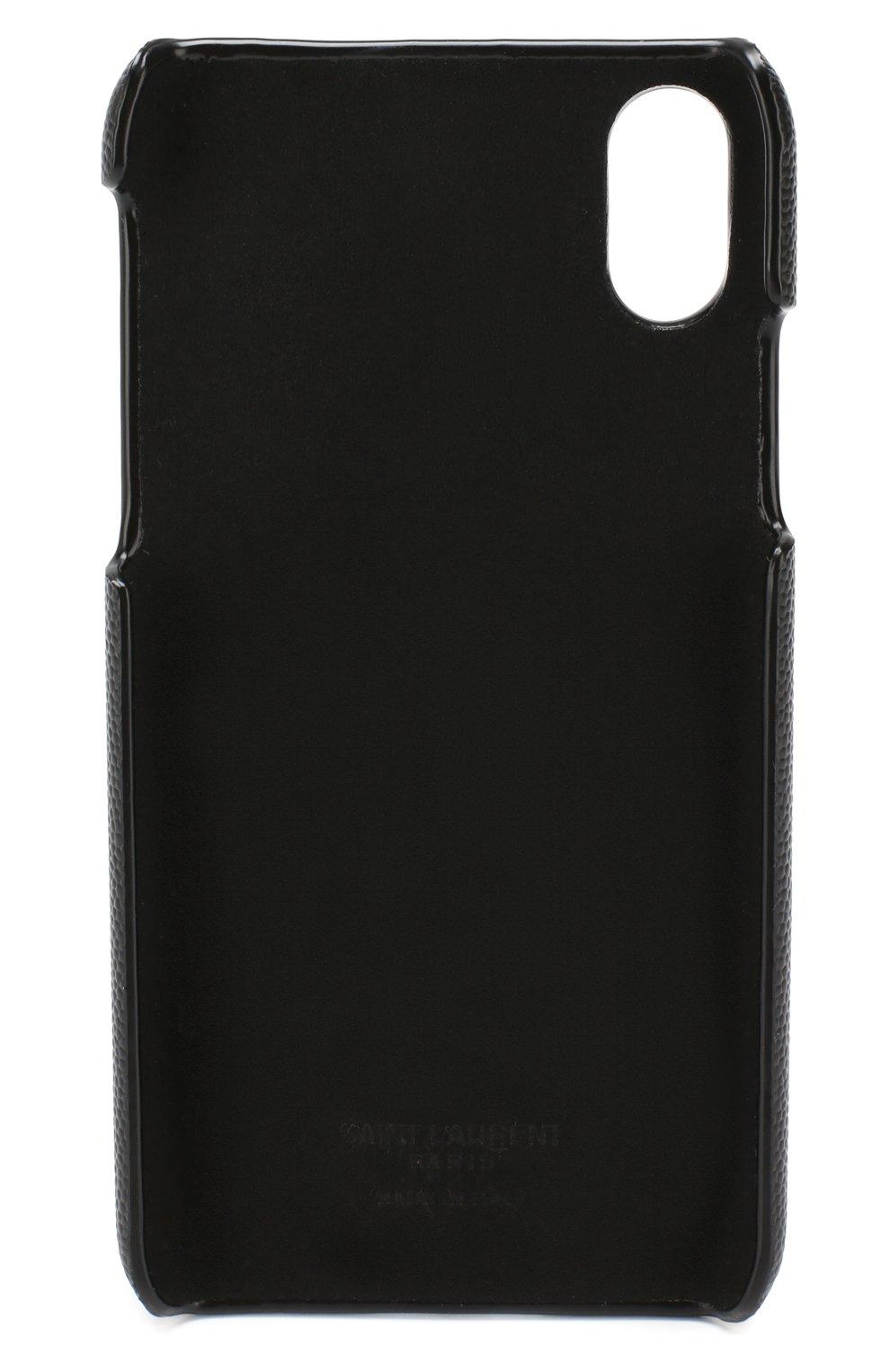 Мужской кожаный чехол для iphone x/xs SAINT LAURENT черного цвета, арт. 585435/BTY0N | Фото 2