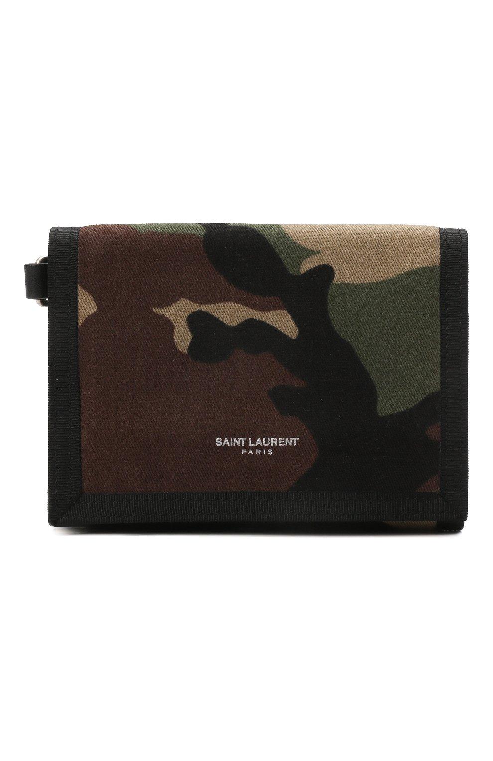 Мужской текстильное портмоне SAINT LAURENT хаки цвета, арт. 586279/GL0IE | Фото 1