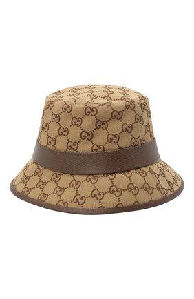 Мужская хлопковая панама GUCCI коричневого цвета, арт. 576587/4HG62   Фото 2