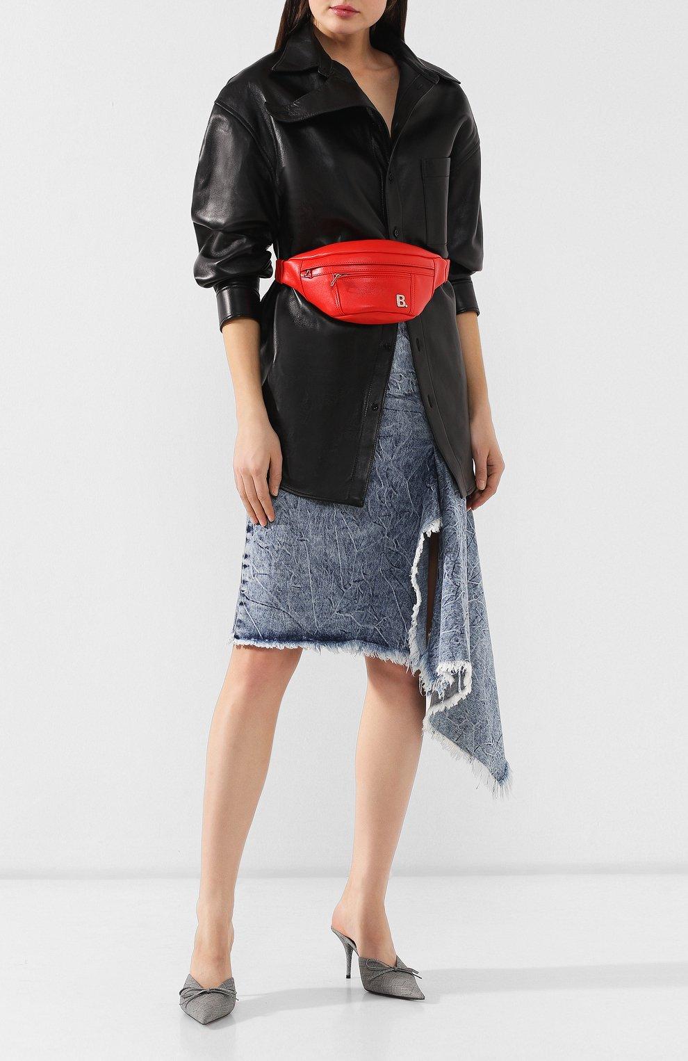 Поясная сумка Soft XS Balenciaga красная | Фото №2