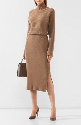 Женская хлопковая юбка BOSS бежевого цвета, арт. 50411641   Фото 2