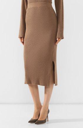 Женская хлопковая юбка BOSS бежевого цвета, арт. 50411641   Фото 3