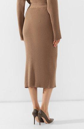 Женская хлопковая юбка BOSS бежевого цвета, арт. 50411641   Фото 4
