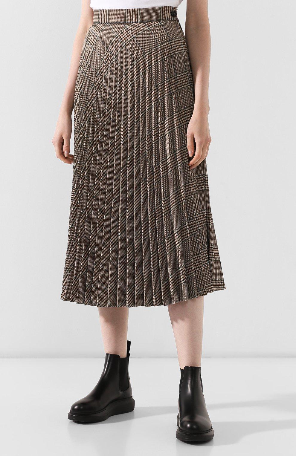 Женская юбка в складку MM6 коричневого цвета, арт. S52MA0055/S49977 | Фото 3