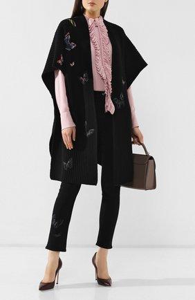 Женская шерстяная накидка VALENTINO черного цвета, арт. SB3KS00B4RG | Фото 2