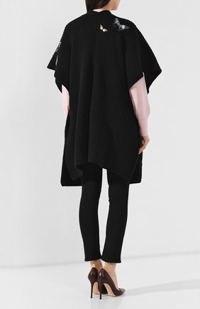 Шерстяная накидка Valentino черная   Фото №4