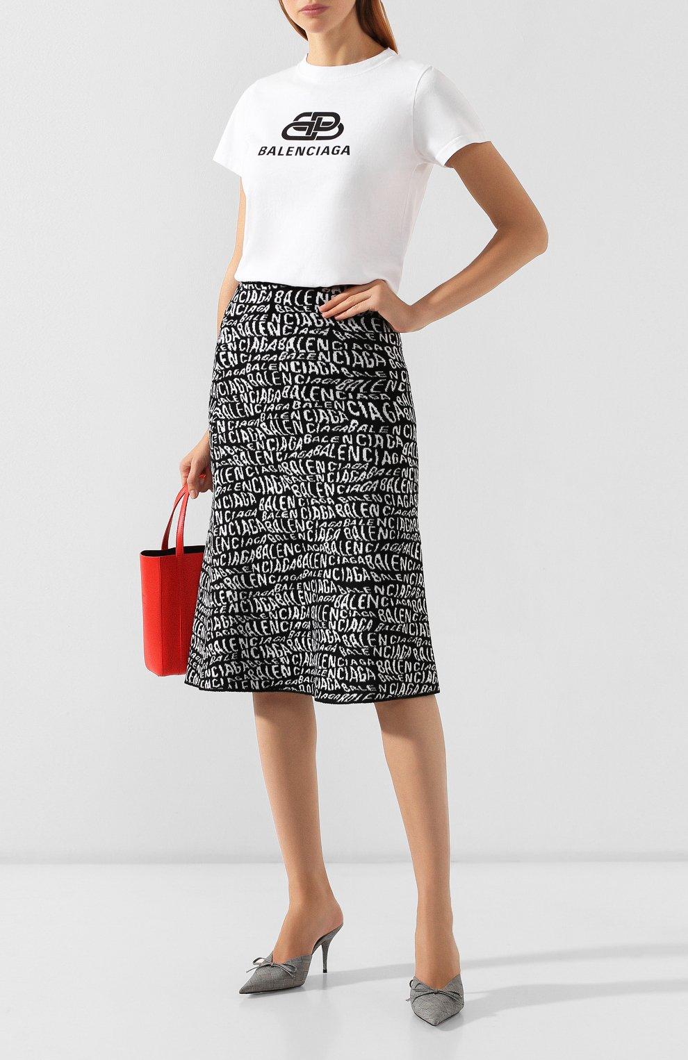 Женская юбка BALENCIAGA черно-белого цвета, арт. 583160/T5122   Фото 2