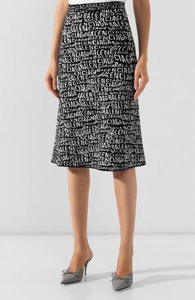 Женская юбка BALENCIAGA черно-белого цвета, арт. 583160/T5122   Фото 3