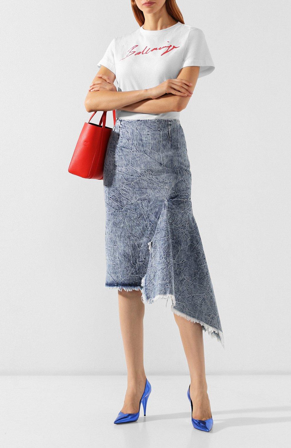 Женская джинсовая юбка BALENCIAGA синего цвета, арт. 571460/TEW36 | Фото 2