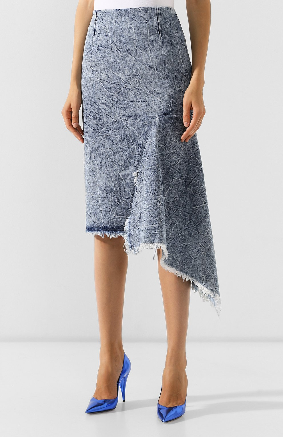Женская джинсовая юбка BALENCIAGA синего цвета, арт. 571460/TEW36 | Фото 3