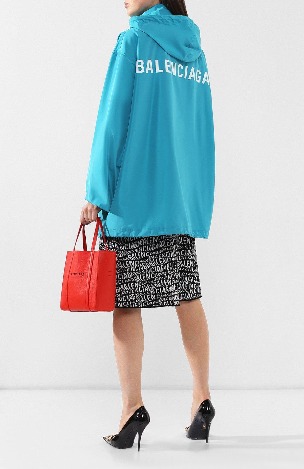 Женская куртка с капюшоном BALENCIAGA бирюзового цвета, арт. 556168/TYD36 | Фото 2