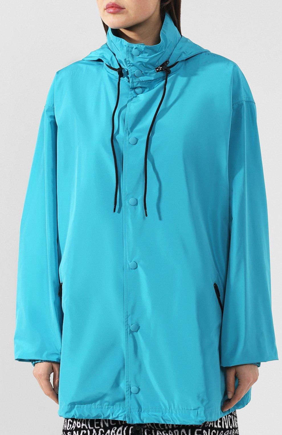 Женская куртка с капюшоном BALENCIAGA бирюзового цвета, арт. 556168/TYD36 | Фото 3