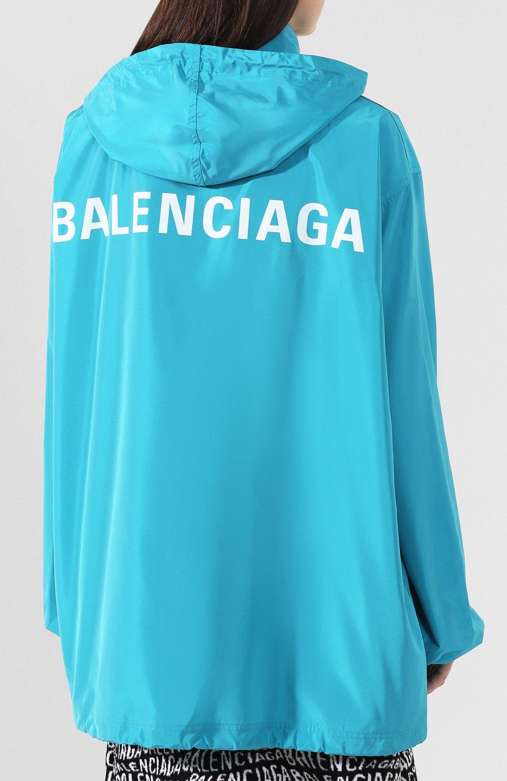 Женская куртка с капюшоном BALENCIAGA бирюзового цвета, арт. 556168/TYD36 | Фото 4