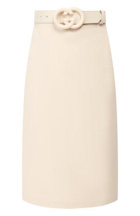Женская юбка из смеси шерсти и шелка GUCCI бежевого цвета, арт. 577793/Z8ADY | Фото 1