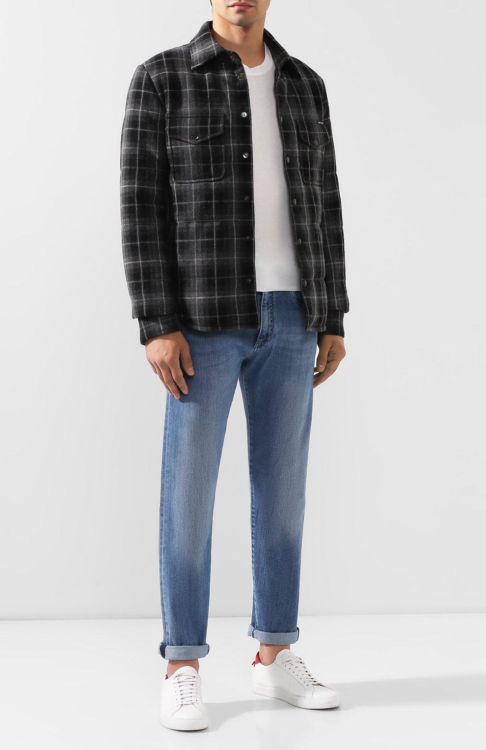Мужская куртка из смеси шерсти и хлопка DOLCE & GABBANA серого цвета, арт. G9LP3T/FQ2DN   Фото 2