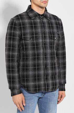 Мужская куртка из смеси шерсти и хлопка DOLCE & GABBANA серого цвета, арт. G9LP3T/FQ2DN   Фото 3