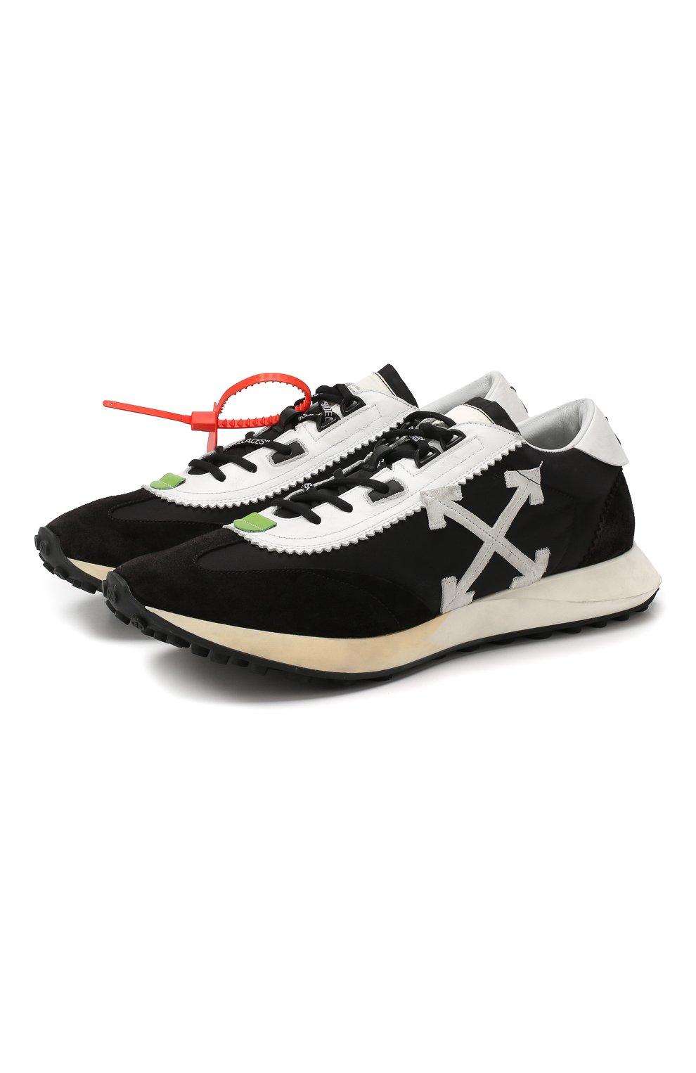 Мужские комбинированные кроссовки running OFF-WHITE черного цвета, арт. 0MIA127E19D380461001 | Фото 1