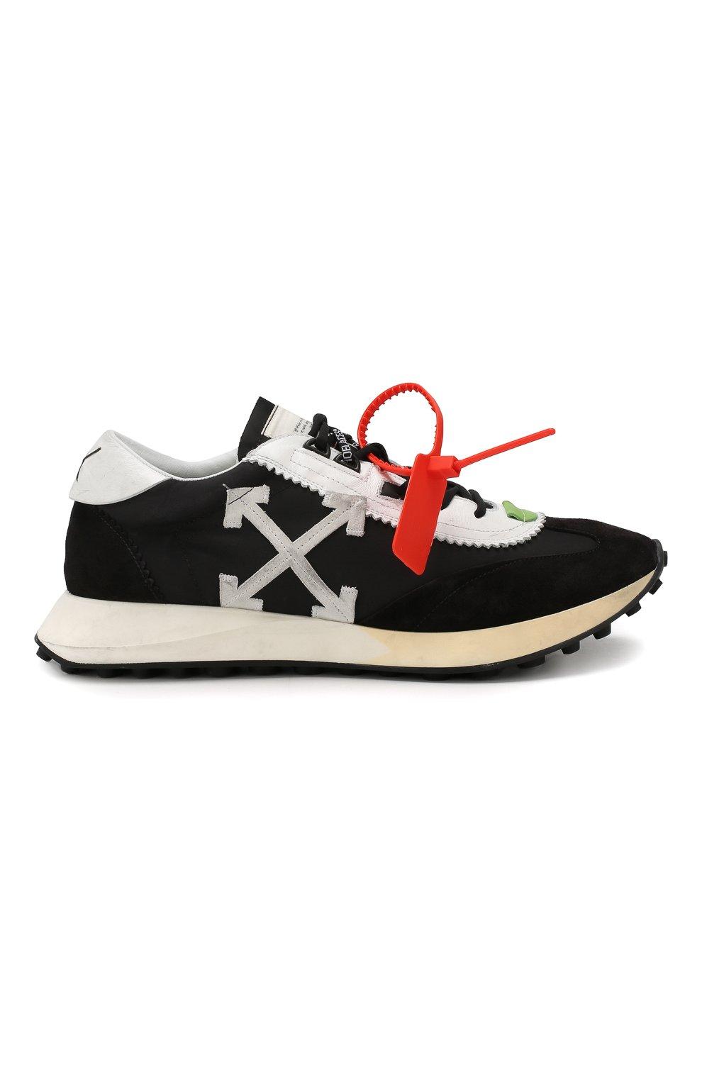 Мужские комбинированные кроссовки running OFF-WHITE черного цвета, арт. 0MIA127E19D380461001 | Фото 6
