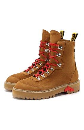 Мужские замшевые ботинки OFF-WHITE светло-коричневого цвета, арт. 0MIA121E19D680025100 | Фото 1