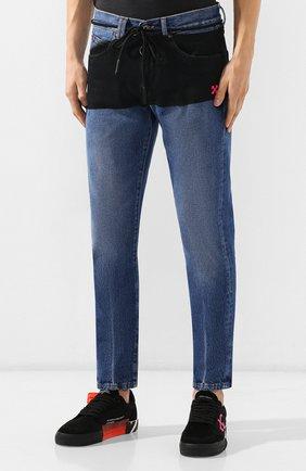 Мужские джинсы OFF-WHITE синего цвета, арт. 0MYA011E193860453228 | Фото 3