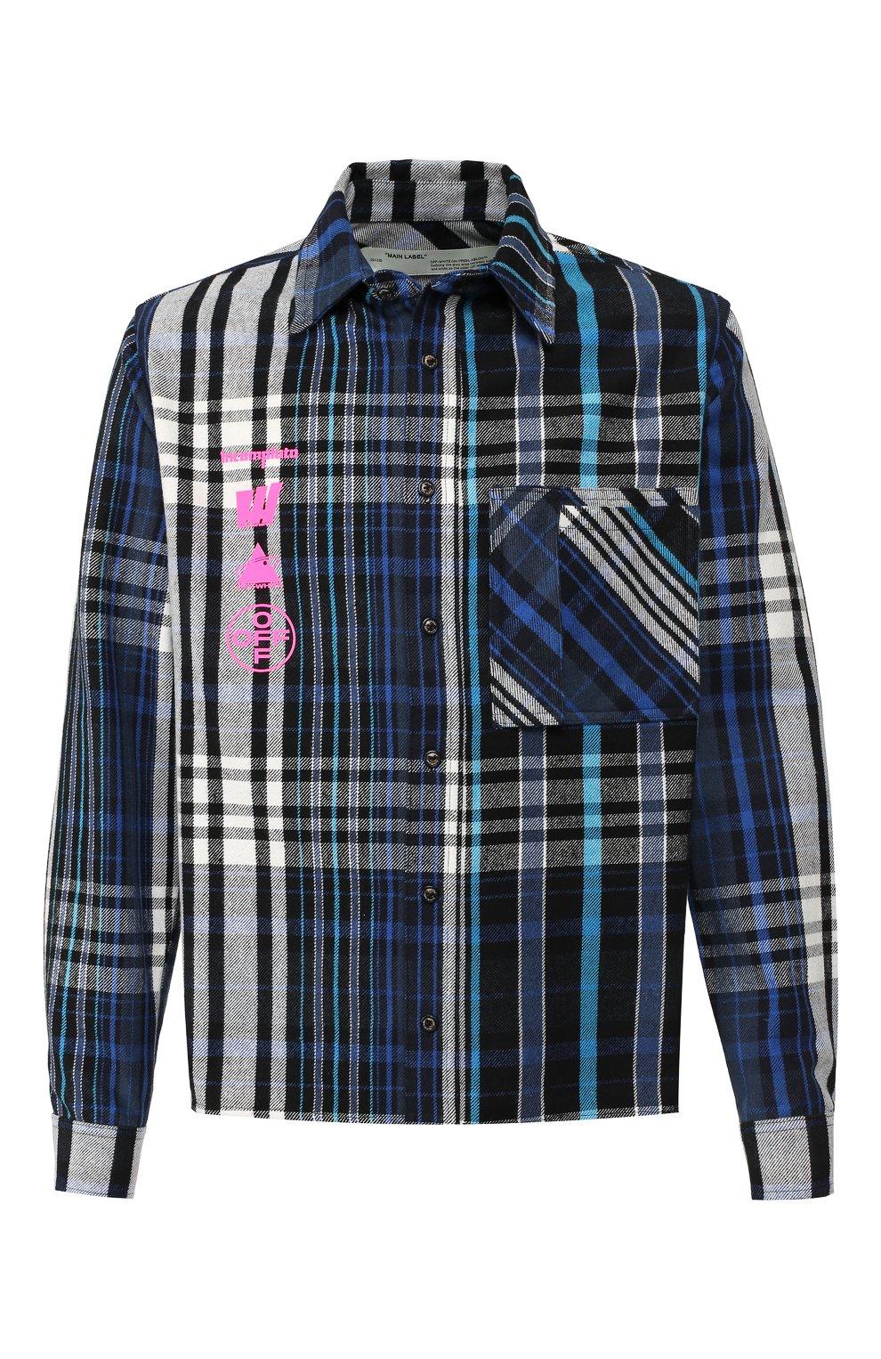 Мужская хлопковая рубашка OFF-WHITE синего цвета, арт. 0MGA060E19E230053088   Фото 1