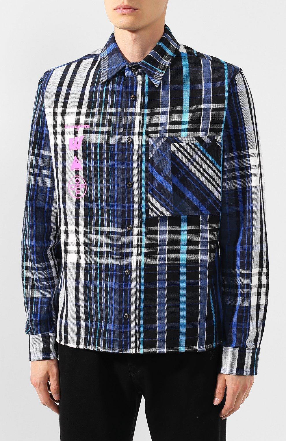 Мужская хлопковая рубашка OFF-WHITE синего цвета, арт. 0MGA060E19E230053088   Фото 3