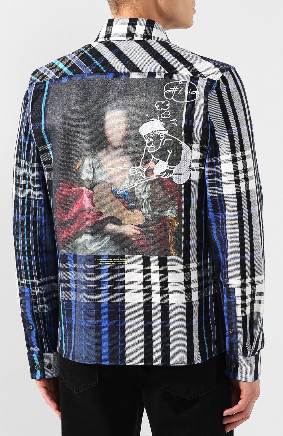 Мужская хлопковая рубашка OFF-WHITE синего цвета, арт. 0MGA060E19E230053088   Фото 4
