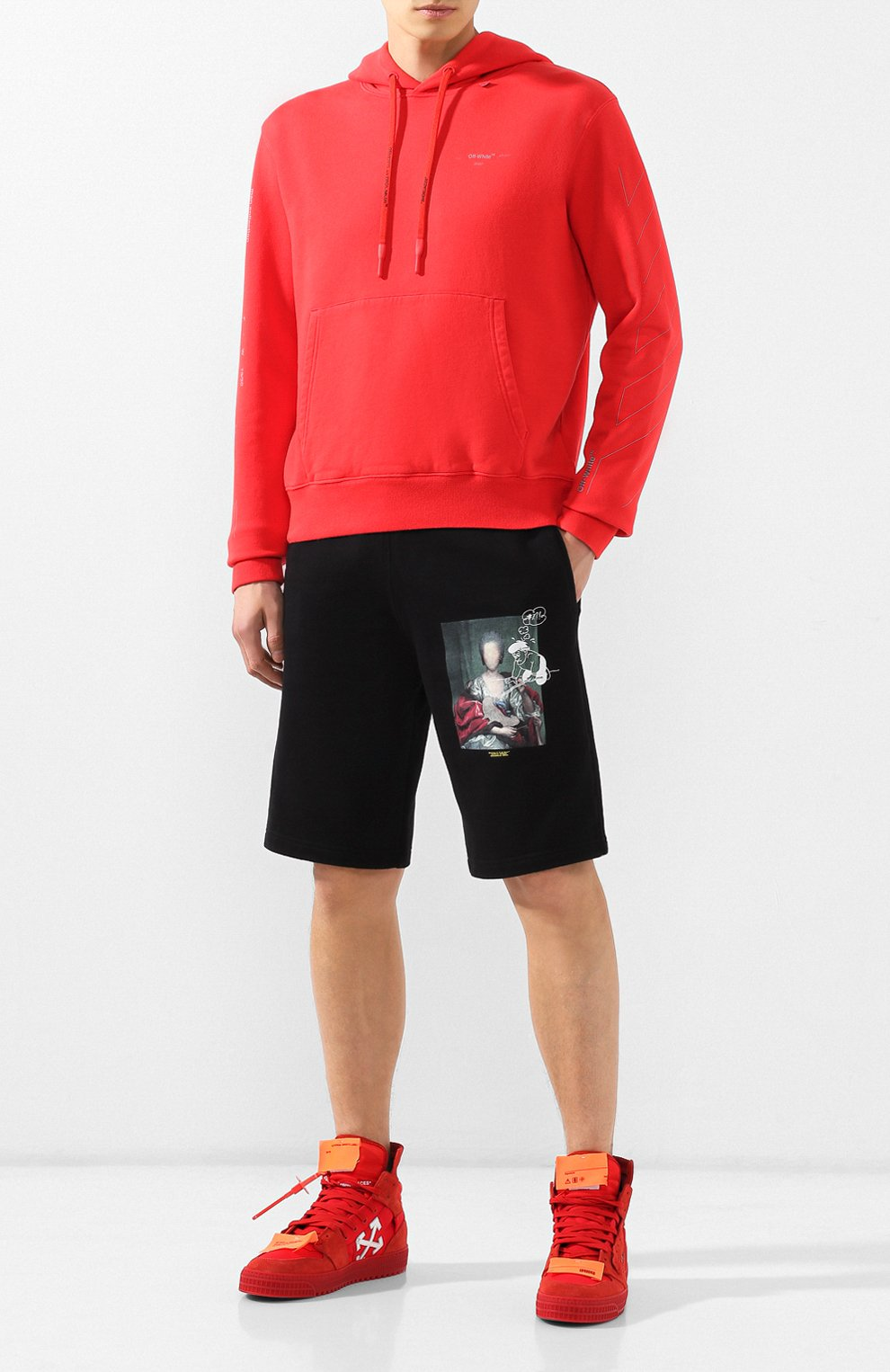 Мужские хлопковые шорты OFF-WHITE черного цвета, арт. 0MCI006E19E300051088 | Фото 2