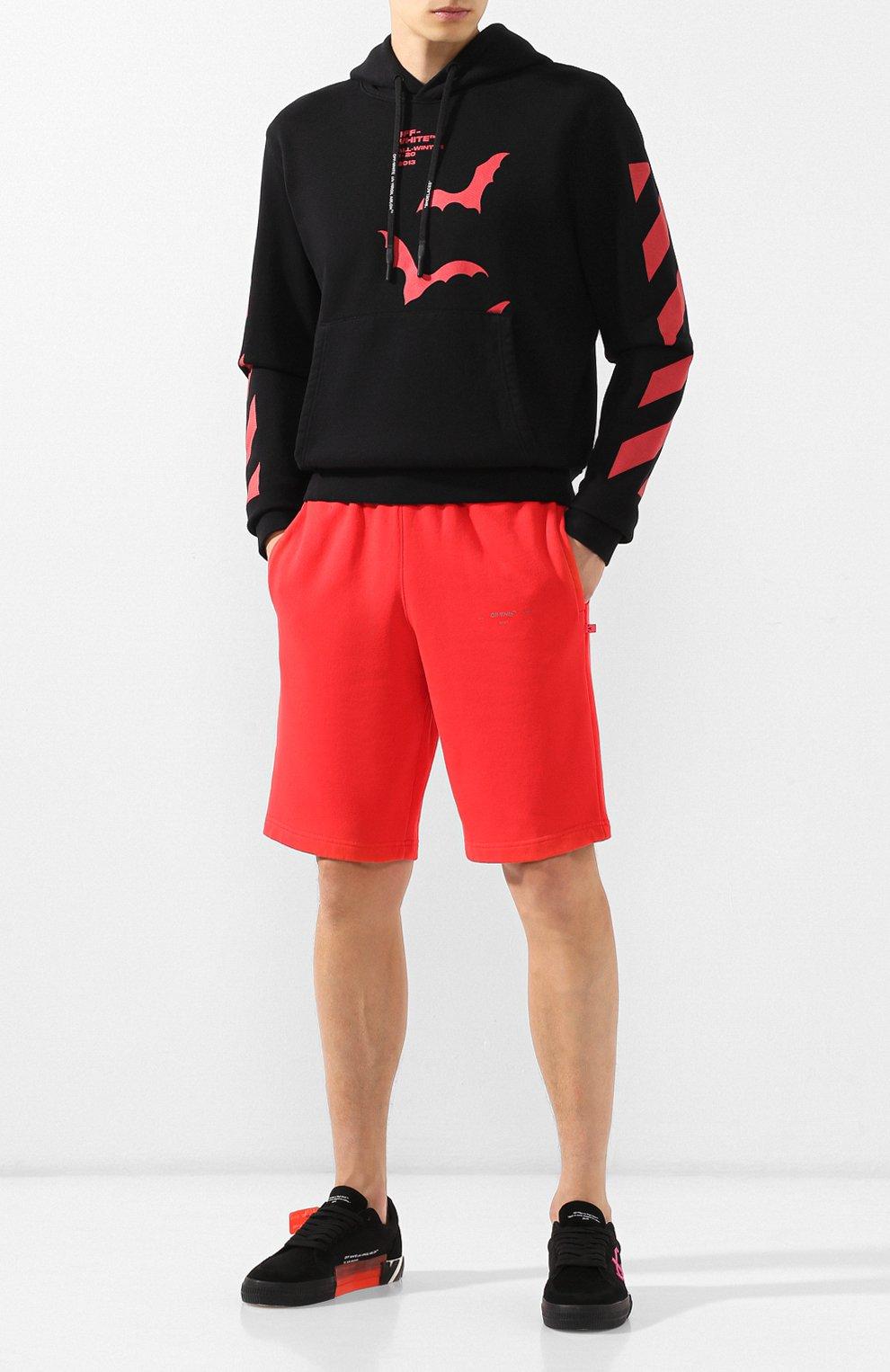 Мужские хлопковые шорты OFF-WHITE красного цвета, арт. 0MCI006E19E300032091 | Фото 2