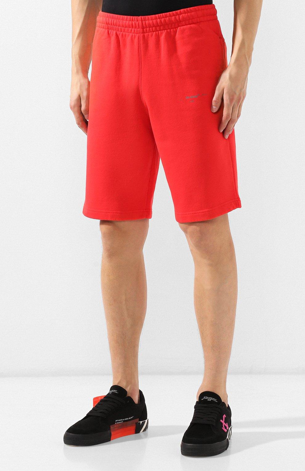 Мужские хлопковые шорты OFF-WHITE красного цвета, арт. 0MCI006E19E300032091 | Фото 3