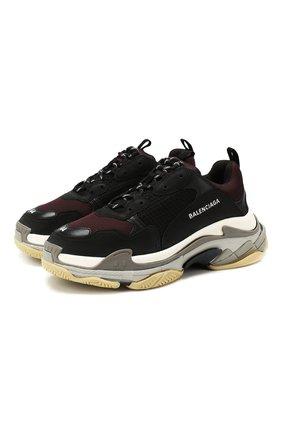 Мужские комбинированные кроссовки triple s BALENCIAGA бордового цвета, арт. 536737/W090H | Фото 1