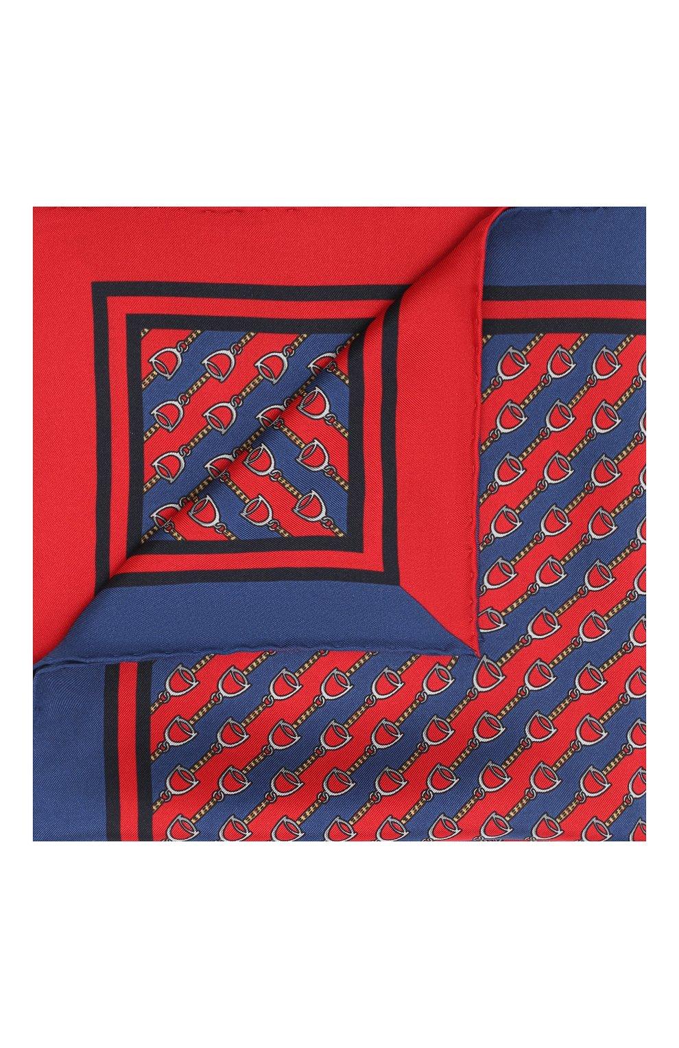 Мужской шелковый платок GUCCI красного цвета, арт. 575389/4G001 | Фото 1