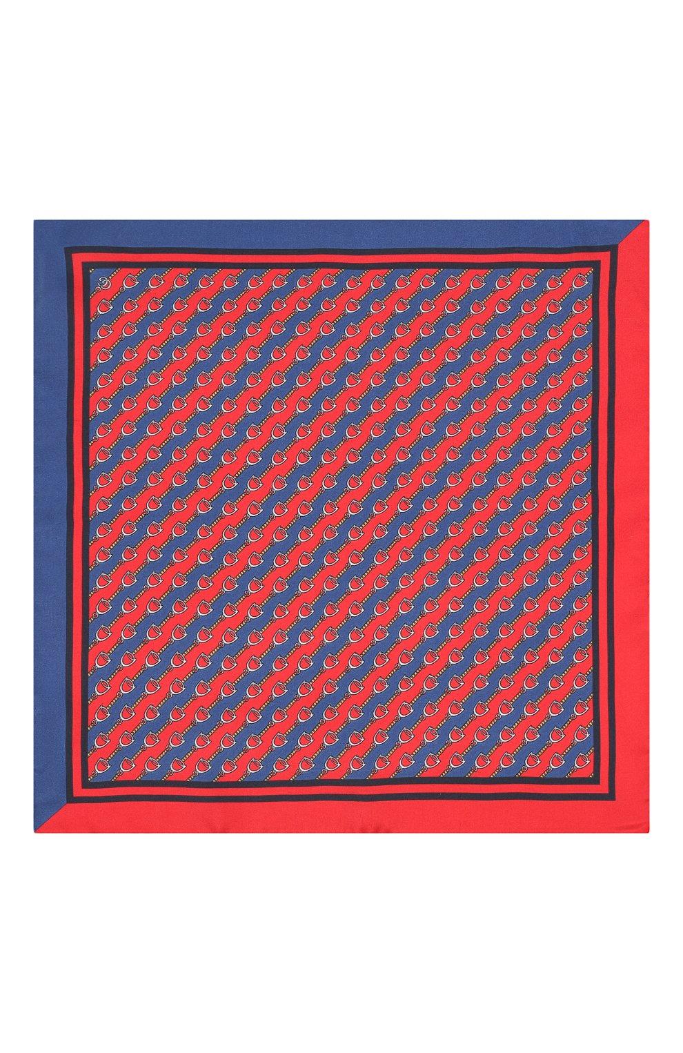 Мужской шелковый платок GUCCI красного цвета, арт. 575389/4G001 | Фото 3