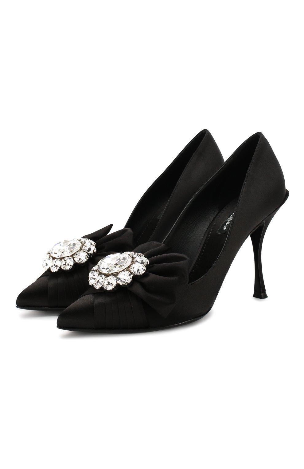 Женские текстильные туфли lori DOLCE & GABBANA черного цвета, арт. CD1303/A7630 | Фото 1