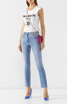 Женские джинсы BALMAIN голубого цвета, арт. SF15634/D067   Фото 2