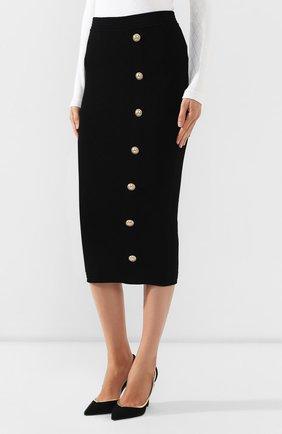 Женская юбка из вискозы BALMAIN черного цвета, арт. SF14869/K462 | Фото 3