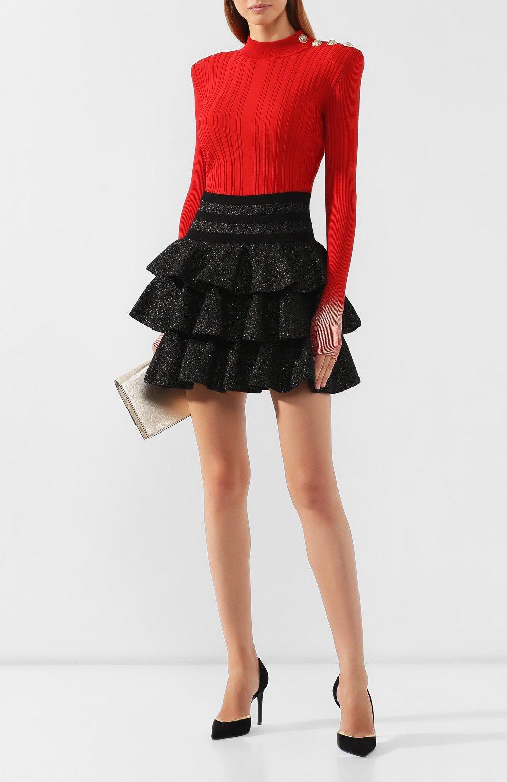 Женская юбка BALMAIN черного цвета, арт. SF14392/K429 | Фото 2