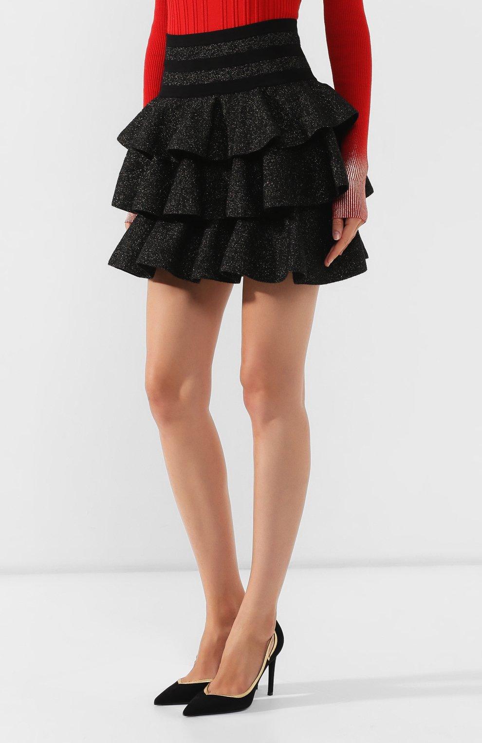 Женская юбка BALMAIN черного цвета, арт. SF14392/K429 | Фото 3