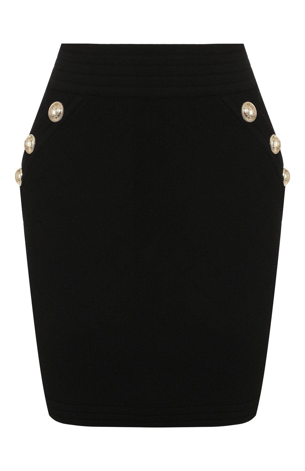 Женская юбка из вискозы BALMAIN черного цвета, арт. SF14215/K462 | Фото 1