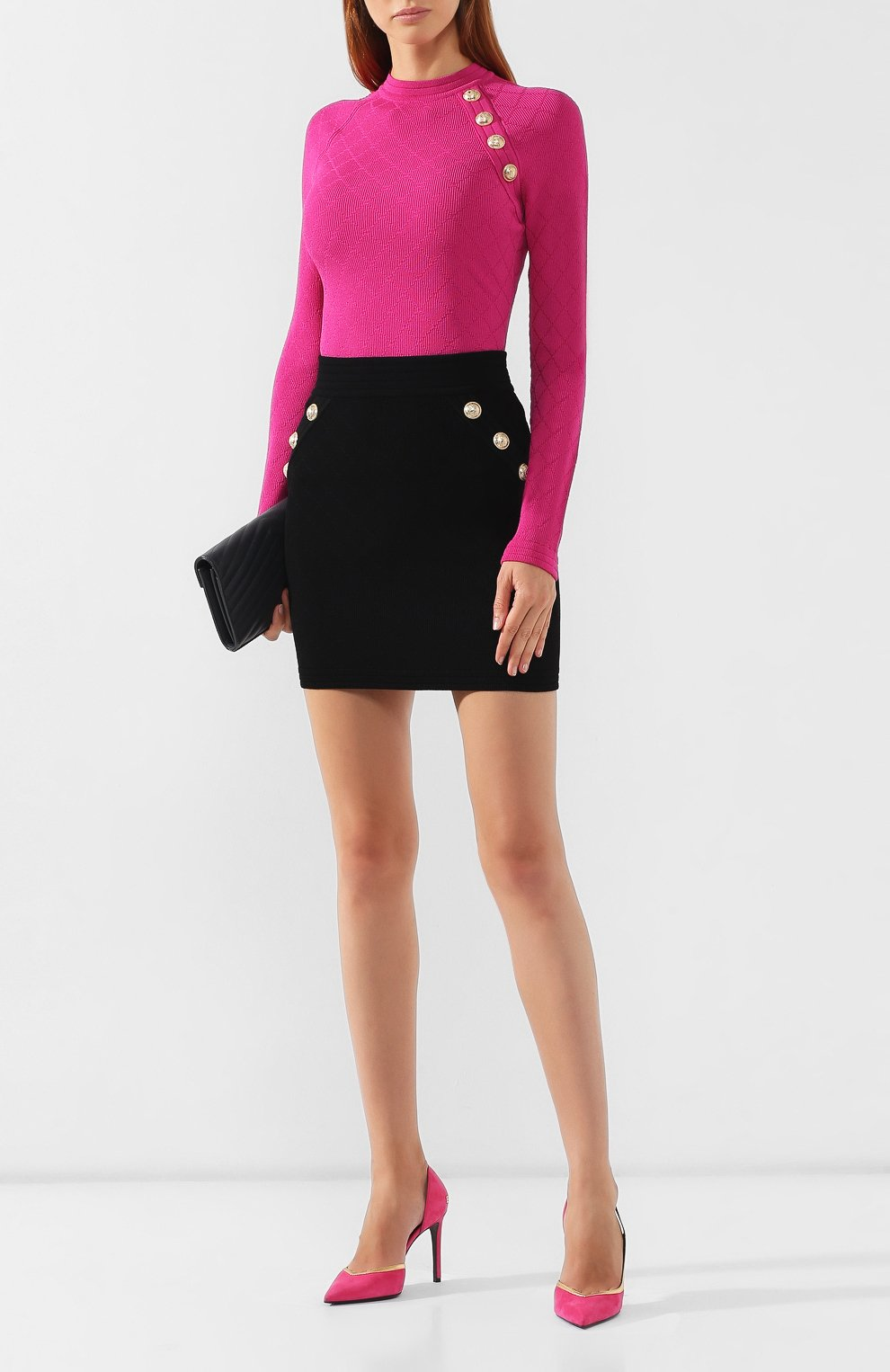Женская юбка из вискозы BALMAIN черного цвета, арт. SF14215/K462 | Фото 2